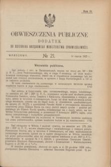 Obwieszczenia Publiczne : dodatek do Dziennika Urzędowego Ministerstwa Sprawiedliwości. R.9, № 21 (14 marca 1925)