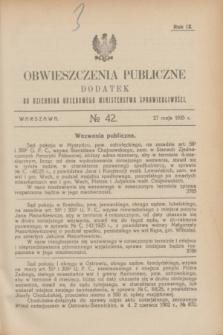 Obwieszczenia Publiczne : dodatek do Dziennika Urzędowego Ministerstwa Sprawiedliwości. R.9, № 42 (27 maja 1925)