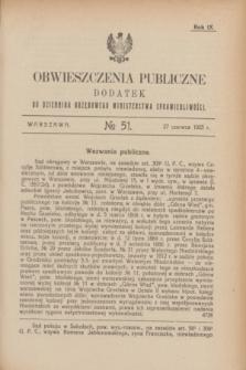 Obwieszczenia Publiczne : dodatek do Dziennika Urzędowego Ministerstwa Sprawiedliwości. R.9, № 51 (27 czerwca 1925)