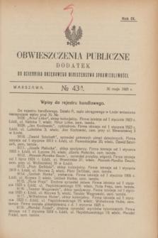 Obwieszczenia Publiczne : dodatek do Dziennika Urzędowego Ministerstwa Sprawiedliwości. R.9, № 43 A (30 maja 1925)