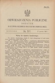 Obwieszczenia Publiczne : dodatek do Dziennika Urzędowego Ministerstwa Sprawiedliwości. R.9, № 51 A (27 czerwca 1925)