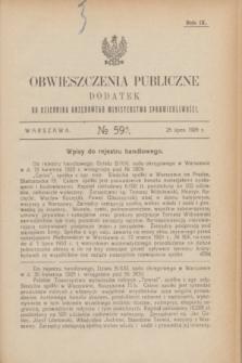 Obwieszczenia Publiczne : dodatek do Dziennika Urzędowego Ministerstwa Sprawiedliwości. R.9, № 59 A (25 lipca 1925)