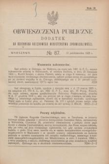 Obwieszczenia Publiczne : dodatek do Dziennika Urzędowego Ministerstwa Sprawiedliwości. R.9, № 87 (31 października 1925)