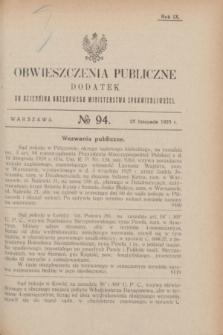 Obwieszczenia Publiczne : dodatek do Dziennika Urzędowego Ministerstwa Sprawiedliwości. R.9, № 94 (25 listopada 1925)