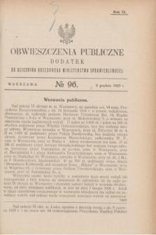 Obwieszczenia Publiczne : dodatek do Dziennika Urzędowego Ministerstwa Sprawiedliwości. R.9, № 96 (2 grudnia 1925)