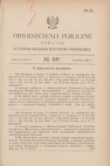 Obwieszczenia Publiczne : dodatek do Dziennika Urzędowego Ministerstwa Sprawiedliwości. R.9, № 98 A (9 grudnia 1925)