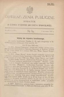 Obwieszczenia Publiczne : dodatek do Dziennika Urzędowego Ministerstwa Sprawiedliwości. R.13, № 1 A (2 stycznia 1929)