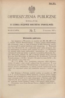 Obwieszczenia Publiczne : dodatek do Dziennika Urzędowego Ministerstwa Sprawiedliwości. R.13, № 7 (23 stycznia 1929)