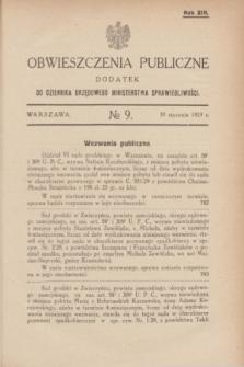 Obwieszczenia Publiczne : dodatek do Dziennika Urzędowego Ministerstwa Sprawiedliwości. R.13, № 9 (30 stycznia 1929)