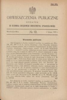 Obwieszczenia Publiczne : dodatek do Dziennika Urzędowego Ministerstwa Sprawiedliwości. R.13, № 10 (2 lutego 1929)