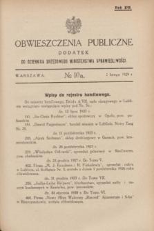 Obwieszczenia Publiczne : dodatek do Dziennika Urzędowego Ministerstwa Sprawiedliwości. R.13, № 10 A (2 lutego 1929)
