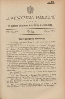 Obwieszczenia Publiczne : dodatek do Dziennika Urzędowego Ministerstwa Sprawiedliwości. R.13, № 11 A (6 lutego 1929)