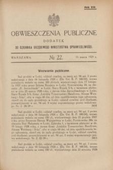 Obwieszczenia Publiczne : dodatek do Dziennika Urzędowego Ministerstwa Sprawiedliwości. R.13, № 22 (16 marca 1929)