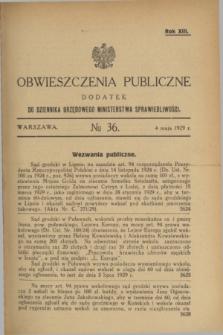 Obwieszczenia Publiczne : dodatek do Dziennika Urzędowego Ministerstwa Sprawiedliwości. R.13, № 36 (4 maja 1929)