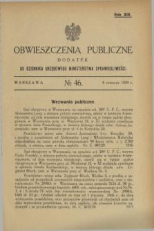 Obwieszczenia Publiczne : dodatek do Dziennika Urzędowego Ministerstwa Sprawiedliwości. R.13, № 46 (8 czerwca 1929)