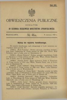 Obwieszczenia Publiczne : dodatek do Dziennika Urzędowego Ministerstwa Sprawiedliwości. R.13, № 46 A (8 czerwca 1929)