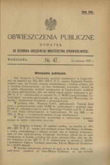 Obwieszczenia Publiczne : dodatek do Dziennika Urzędowego Ministerstwa Sprawiedliwości. R.13, № 47 (12 czerwca 1929)