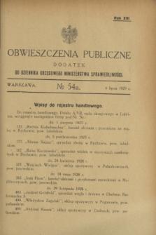 Obwieszczenia Publiczne : dodatek do Dziennika Urzędowego Ministerstwa Sprawiedliwości. R.13, № 54 A (6 lipca 1929)