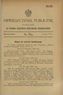 Obwieszczenia Publiczne : dodatek do Dziennika Urzędowego Ministerstwa Sprawiedliwości. R.13, № 58 A (20 lipca 1929)