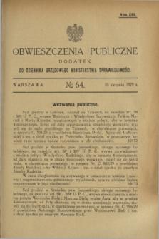 Obwieszczenia Publiczne : dodatek do Dziennika Urzędowego Ministerstwa Sprawiedliwości. R.13, № 64 (10 sierpnia 1929)