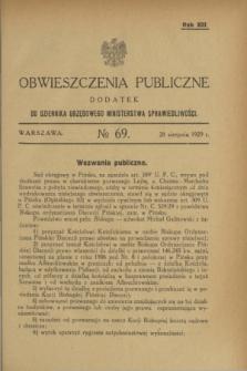 Obwieszczenia Publiczne : dodatek do Dziennika Urzędowego Ministerstwa Sprawiedliwości. R.13, № 69 (28 sierpnia 1929)