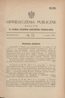 Obwieszczenia Publiczne : dodatek do Dziennika Urzędowego Ministerstwa Sprawiedliwości. R.13, № 72 (7 września 1929)