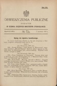 Obwieszczenia Publiczne : dodatek do Dziennika Urzędowego Ministerstwa Sprawiedliwości. R.13, № 72 A (7 września 1929)