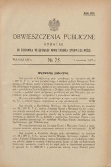 Obwieszczenia Publiczne : dodatek do Dziennika Urzędowego Ministerstwa Sprawiedliwości. R.13, № 73 (11 września 1929)