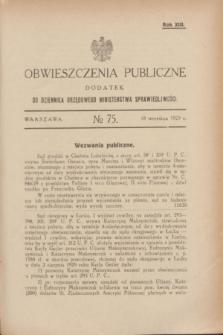 Obwieszczenia Publiczne : dodatek do Dziennika Urzędowego Ministerstwa Sprawiedliwości. R.13, № 75 (18 września 1929)