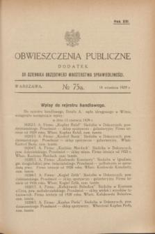 Obwieszczenia Publiczne : dodatek do Dziennika Urzędowego Ministerstwa Sprawiedliwości. R.13, № 75 A (18 września 1929)