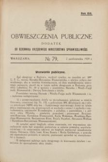 Obwieszczenia Publiczne : dodatek do Dziennika Urzędowego Ministerstwa Sprawiedliwości. R.13, № 79 (2 października 1929)