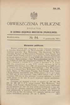 Obwieszczenia Publiczne : dodatek do Dziennika Urzędowego Ministerstwa Sprawiedliwości. R.13, № 84 (19 października 1929)