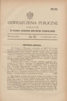 Obwieszczenia Publiczne : dodatek do Dziennika Urzędowego Ministerstwa Sprawiedliwości. R.13, № 87 (30 października 1929)