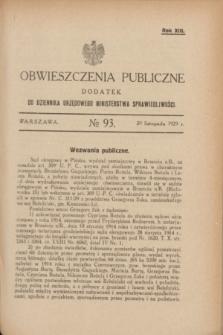 Obwieszczenia Publiczne : dodatek do Dziennika Urzędowego Ministerstwa Sprawiedliwości. R.13, № 93 (20 listopada 1929)