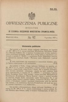 Obwieszczenia Publiczne : dodatek do Dziennika Urzędowego Ministerstwa Sprawiedliwości. R.13, № 97 (4 grudnia 1929)