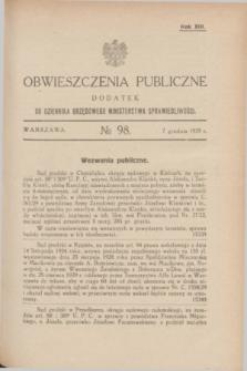 Obwieszczenia Publiczne : dodatek do Dziennika Urzędowego Ministerstwa Sprawiedliwości. R.13, № 98 (7 grudnia 1929)