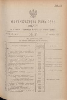 Obwieszczenia Publiczne : dodatek do Dziennika Urzędowego Ministerstwa Sprawiedliwości. R.7, № 51 (27 czerwca 1923)