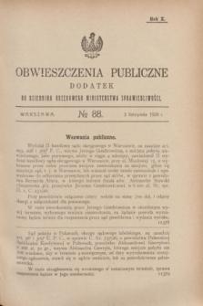 Obwieszczenia Publiczne : dodatek do Dziennika Urzędowego Ministerstwa Sprawiedliwości. R.10, № 88 (3 listopada 1926)