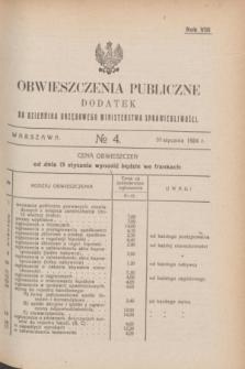 Obwieszczenia Publiczne : dodatek do Dziennika Urzędowego Ministerstwa Sprawiedliwości. R.8, № 4 (10 stycznia 1924)