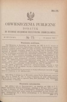 Obwieszczenia Publiczne : dodatek do Dziennika Urzędowego Ministerstwa Sprawiedliwości. R.8, № 73 (13 sierpnia 1924)