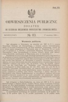 Obwieszczenia Publiczne : dodatek do Dziennika Urzędowego Ministerstwa Sprawiedliwości. R.8, № 83 (17 września 1924)