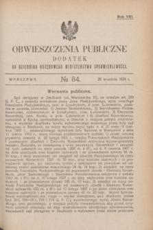 Obwieszczenia Publiczne : dodatek do Dziennika Urzędowego Ministerstwa Sprawiedliwości. R.8, № 84 (20 września 1924)