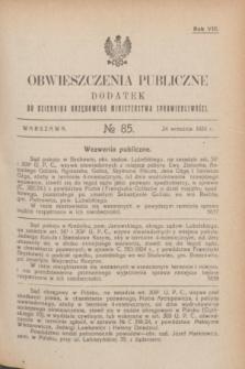 Obwieszczenia Publiczne : dodatek do Dziennika Urzędowego Ministerstwa Sprawiedliwości. R.8, № 85 (24 września 1924)