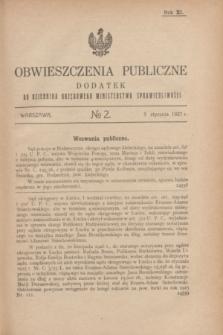 Obwieszczenia Publiczne : dodatek do Dziennika Urzędowego Ministerstwa Sprawiedliwości. R.11, № 2 (5 stycznia 1927)