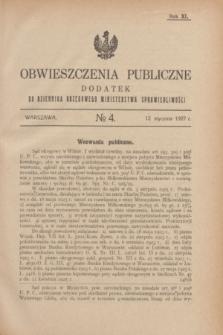 Obwieszczenia Publiczne : dodatek do Dziennika Urzędowego Ministerstwa Sprawiedliwości. R.11, № 4 (12 stycznia 1927)