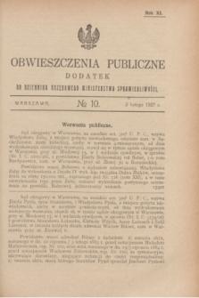 Obwieszczenia Publiczne : dodatek do Dziennika Urzędowego Ministerstwa Sprawiedliwości. R.11, № 10 (2 lutego 1927)