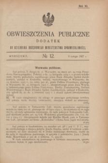 Obwieszczenia Publiczne : dodatek do Dziennika Urzędowego Ministerstwa Sprawiedliwości. R.11, № 12 (9 lutego 1927)