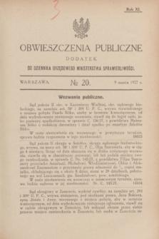 Obwieszczenia Publiczne : dodatek do Dziennika Urzędowego Ministerstwa Sprawiedliwości. R.11, № 20 (9 marca 1927)