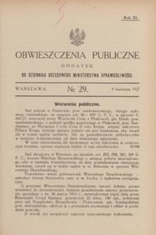 Obwieszczenia Publiczne : dodatek do Dziennika Urzędowego Ministerstwa Sprawiedliwości. R.11, № 29 (9 kwietnia 1927)