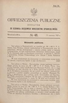 Obwieszczenia Publiczne : dodatek do Dziennika Urzędowego Ministerstwa Sprawiedliwości. R.11, № 48 (15 czerwca 1927)